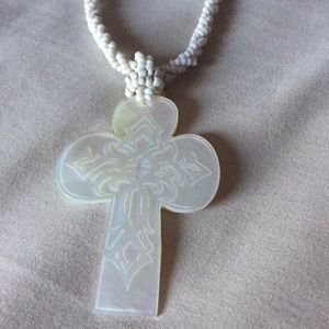 Jewelry - MOTHER OF PEARL CARVED CROSS WITH BEADED NECKLACE